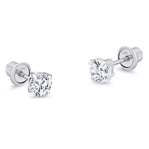 10k White Gold 3mm Basket Round CZ Cubic Zirconia Solitaire Children Screw Back Baby Girls Earrings