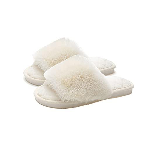 【B-TOPAZ】ルームシューズ レディース スリッパ ファー付き 防寒 あったか もこもこ 人気 柔らかい ふわふわ かわいい 室内履き (ホワイト)
