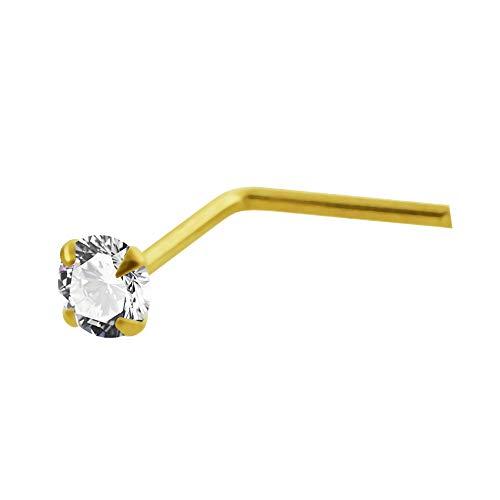 AtoZ Piercing Piercing para la Nariz de Oro Amarillo DE 14 Quilates con Forma de L de Calibre 22