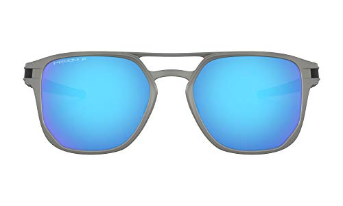 Oakley Men's OO4128 Latch Alpha Metal Round Sunglasses, Matte Light Gunmetal/Prizm Sapphire Polarized, 53 mm
