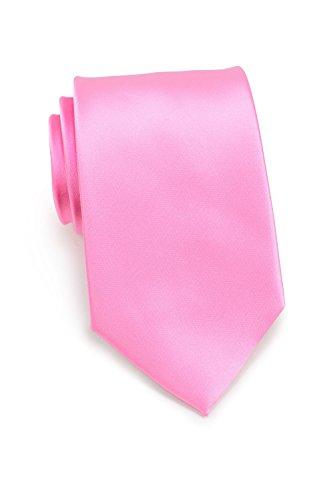 PUCCINI schmale Krawatte│6cm skinny slim Tie/Hochzeitskrawatte/Plastron/Schlips │ uni/einfarbig: Rosa/Pink