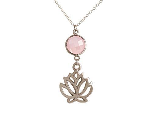 Gemshine YOGA Damen Halskette Lotus Blume mit Rosenquarz Edelstein in Silber oder hochwertig vergoldet. Nachhaltiger, qualitätsvoller Schmuck Made in Spain, Metall Farbe:Silber