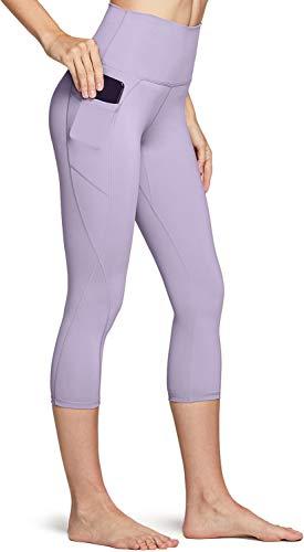 TSLA High Waist Yoga Pants with Pockets, Tummy Control Yoga Leggings, Non See-Through 4 Way Stretch Workout Running Tights, Capris Pocket Peachy(fac34) - Lavender, Medium
