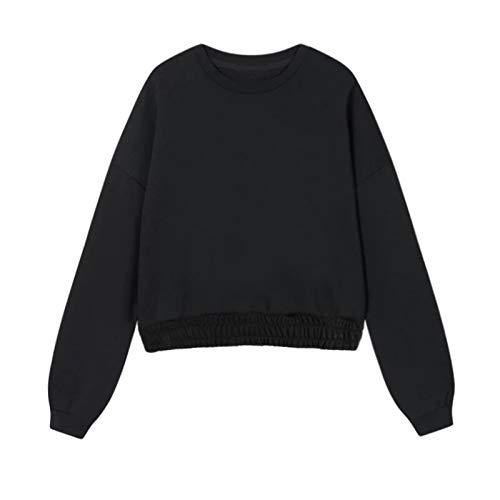 Moda Sudaderas Jersey Sweater Sudadera con Capucha Unisex para Mujer, Sudadera 100% De Algodón, Chándal, Jersey Holgado Informal, Talla Grande M, Sudadera2-Negro
