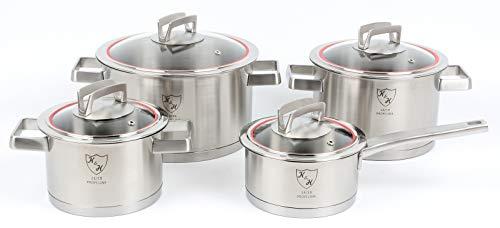 K&H® Unique Topfset, Glasdeckel, Induktionsgeeignet, Stieltopf, Edelstahl rostfrei 18/10 poliert (4-teilig 505)
