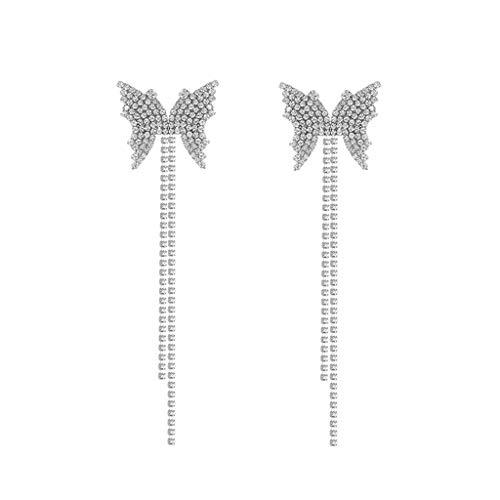 Pendiente de borla de mariposa largo aro cadena gota gancho vintage lindo pendientes de San Valentín joyería