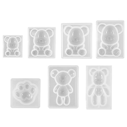 Zkm111 Juego de 7 piezas con forma de oso de peluche y llavero de cristal en forma de resina epoxi, colgante de silicona
