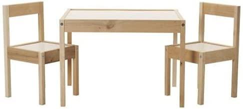 IKEA LATT Mesa para niños con 2 sillas, blanco, pino