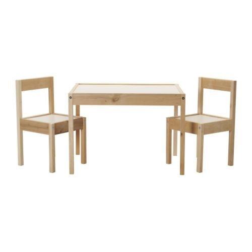 LÄTT - Mesa infantil con 2 sillas a juego de madera de pino, color blanco