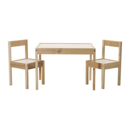 Ikea LATT-Children-s Table with 2 Chairs, White, Pine, Beig
