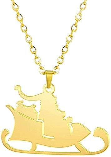 Christmas Santa Claus Sleigh Pendant Charm Necklace for Women Gold Color Stainless Steel Fashion Jewelry Xmas Gift