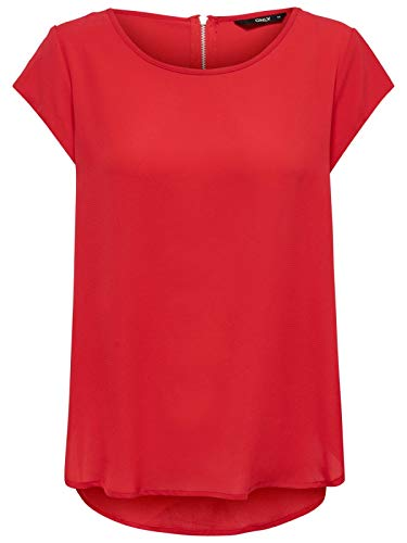Only Onlvic S/s Solid Top Noos Wvn Camiseta, High Risk Red, 38 para Mujer
