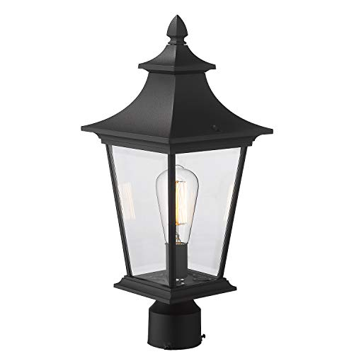 Emliviar Outdoor Post Light, 1-Light 16 inch Post Lantern in Black Finish with Clear Glass, 500181-P BK