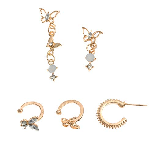 xuebixu 5 piezas mariposa oreja brazalete mujer diamante oro europeo encanto hueco oído colgante