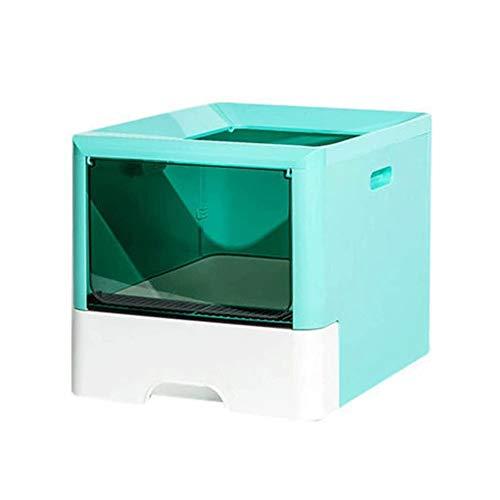 Bdesign Cajón de Arena for Gatos Caja, ejecución Cerrada a Prueba de Polvo fácil de Desmontar Limpio, Conveniente for 1-2 Gatos Libre y cómodo Espacio Grande (Color : Fresh Green)