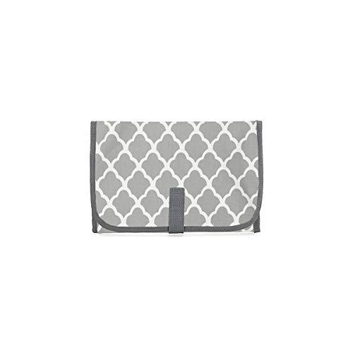 Cambiador de bebé, almohadilla de pañales impermeable plegable portátil (gris)