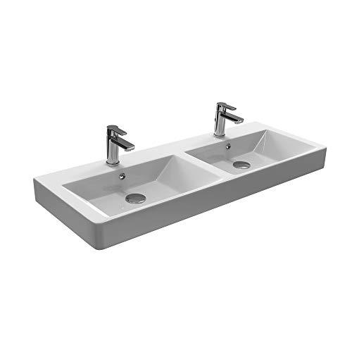 Aqua Bagno Design Doppelwaschbecken aus Keramik Doppelwaschtisch Hängewaschbecken KP.120.2 | 120 x 45 cm