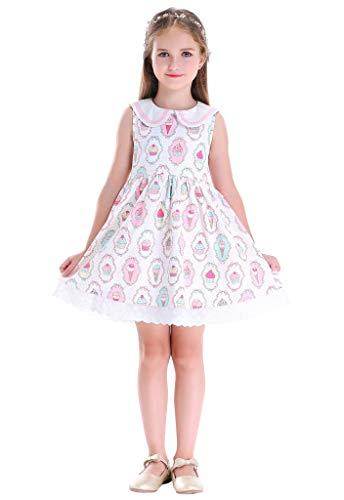 Bow Dream Girls Sleeveless Vintage Casual Dress Pleated Ice Cream Print 4 Year Arkansas