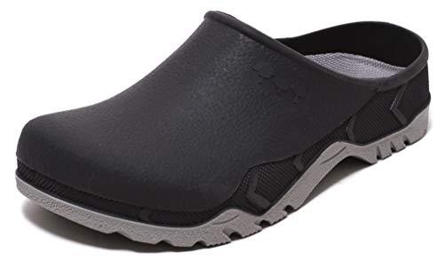 ZAPATO EUROPE Herren Gartenclogs Schuhe Slipper Freizeitclogs mit herausnehmbarer Einlegesohle anthrazit (Numeric_41)