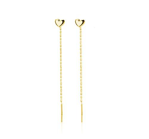 Amaer 925 Sterling Silver Tiny Cute Heart Drop Dangle Earrings Tassel Threader Earrings for Teen Girls (Yellow)