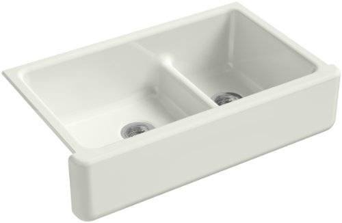Fantastic Deal! KOHLER Whitehaven Farmhouse Smart Divide Self-Trimming Undermount Apron Front Double-Bowl Kitchen Sink with Tall Apron, 35-1/2-Inch x 21-9/16-Inch, Dune (K-6427-NY)