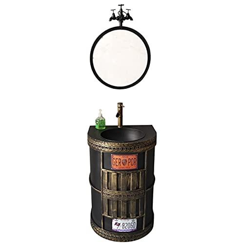 Lavabo Pequeno 47 * 58 * 86cm Creatividad Deco De Estilo Industrial Retro De Metal Con Espejo Muebles De Bano Con Lavabo Y Espejo,Impermeable Y A Prueba De Herrumbre Lavabo Suspendido(Color:bronce)