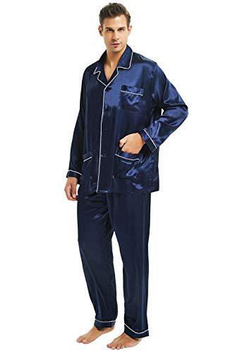 Mens Silk Satin Pajamas Set Sleepwear Loungewear NavyBlue 3XL
