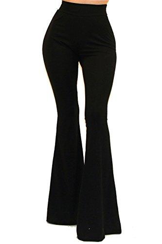 Vivicastle Women's Boho Solid Hippie Wide Leg Flared Bell Bottom Pants (Large, Black)