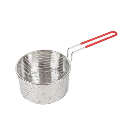 UPKOCH Kitchen Cooking Strainer Pasta Noodle Colander Scoop with Long Handle Fried Food Filter Basket for Home Restaurant (20cm)