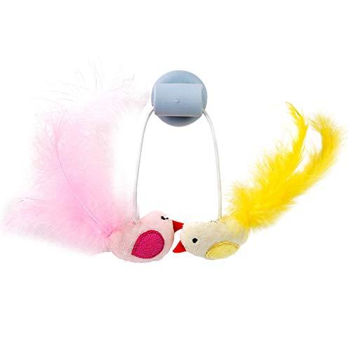 zNLIgHT huisdier kat interactieve teaser spelen speelgoed met vogel veer en venster sucker ballen, Blauw + Vogels