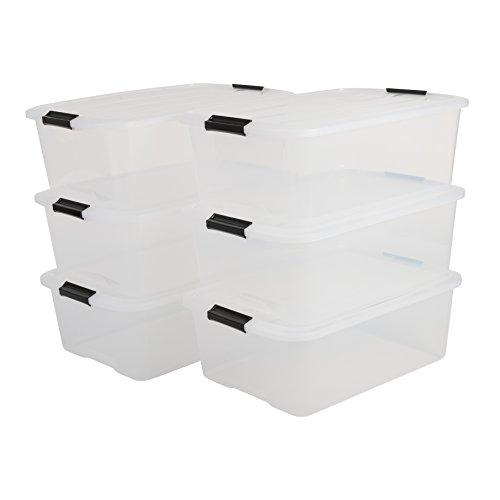 IRIS, 6er-Set stapelbare Aufbewahrungsboxen 'Top Box', mit Deckel und Klickverschluss, 30 Liter, Kunststoff / Plastik, transparent
