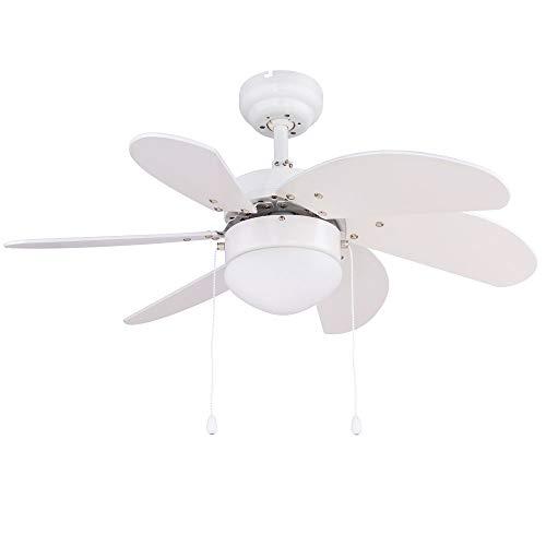 Decken Ventilator weiß Zugschalter Lüfter Leuchte 3 Stufen Kühler Glas Lampe Windmaschine Globo 03302