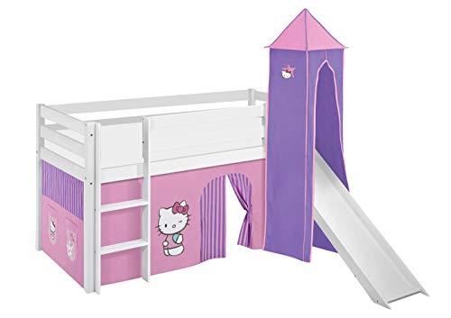 Lilokids Spielbett Jelle Hello Kitty, Hochbett mit Turm, Rutsche und Vorhang Kinderbett, Holz, lila, 198 x 98 x 113 cm
