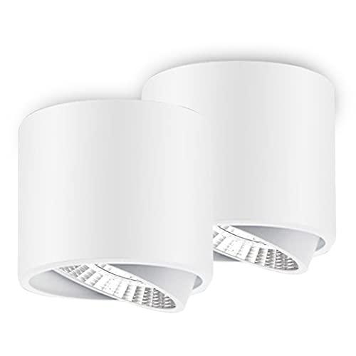 KSIBNW Foco LED de Techo, 9W Downlight LED Orientable para montaje en Superficie, Cool White 6000K, Ra≥80, AC 220-240V,Ø75mm, IP44, Foco Spot de Aluminio para Pasillo, Exhibición(Blanco)