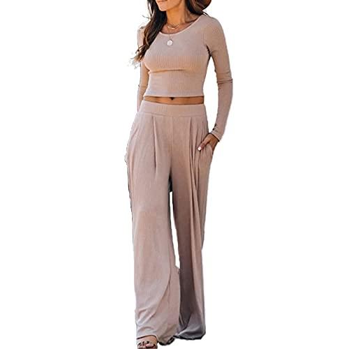 Yassiglia Tuta Donna Elegante Autunnale Completo Moda Donna Due Pezzi Completo a Manica Lunga Tinta Unita Top Corto Pantaloni Lunghi per Donna (Marrone Chiaro, M)