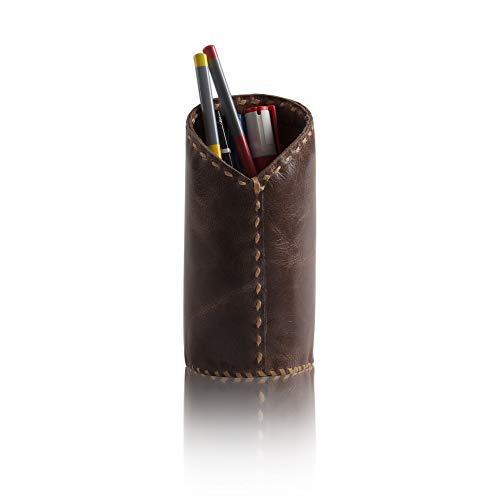 Global Village Bazaar Designer-Bleistifttasche aus weichem Leder, handgenäht, mit Ständer, Tisch-Organizer, Zubehör für Zuhause, Büro, Deko, Schule, College Schreibwaren