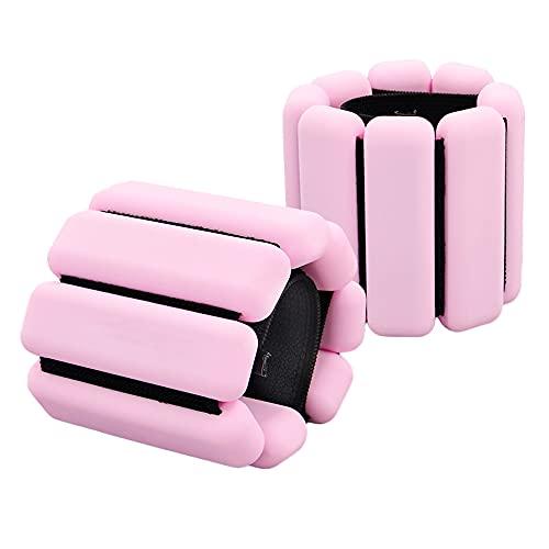 1-Par usable muñeca pesos pulsera, pulsera de tobillo gravedad Anillo Sweatproof silicona incorporado Acero Bloque ajustable Elasticidad correas, para la aptitud Ejercicio(Color:Rosa)