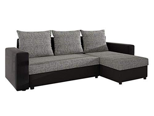 Mirjan24 Ecksofa Top Lux! Sofa Eckcouch Couch! mit Schlaffunktion und Zwei Bettkasten! Ottomane Universal, L-Form Couch Schlafsofa Bettsofa Farbauswahl (Soft 011 + Lawa 05)