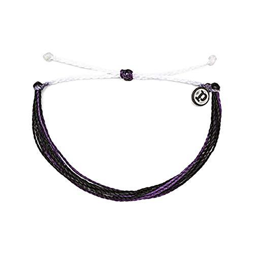 Pura Vida Lung Cancer Awareness Charity Bracelet - Plated Charm, Adjustable Band - 100% Waterproof