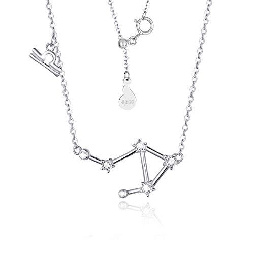 SIMPLGIRL Waage Horoskop für Frauen Halskette 925 Sterling Silber Anhänger mit Sternzeichen Anhänger Halskette Geburtstagsgeschenk