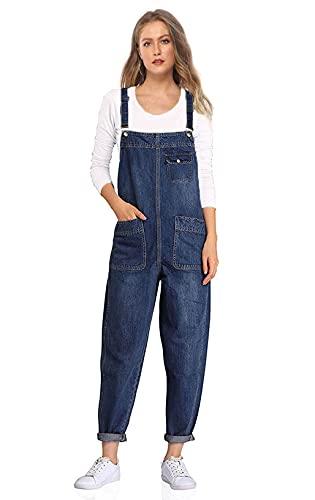 Soojun Women's Casual Baggy Denim Bib Overalls, Blue, Small