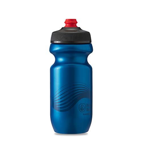 Polar Bottle Breakaway Wave Lightweight Bike Water Bottle - BPA-Free, Cycling & Sports Squeeze Bottle (Deep Blue & Charcoal, 20 oz)