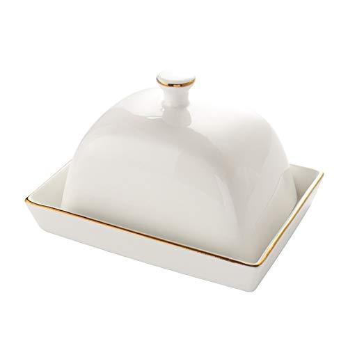 LIUCHUNYANSH burriera Piatto di Burro di Ceramica con Coperchio Square Square Stile Europeo Burro Bianco Pan Home Home Hotel Stoviglie (Color : A)