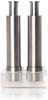Grind Gourmet Salt and Pepper Grinder Set of 2 with Modern Thumb Push Button Solid Stainless Grinder, Stainless Steel, for Black Pepper, Sea Salt and Himalayan Salt, Peppermill are Refillable (Silver)