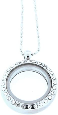 Clearly Charming Medium Round Crystal Locket Necklace Base for Floating Charms with Bamboo Chain