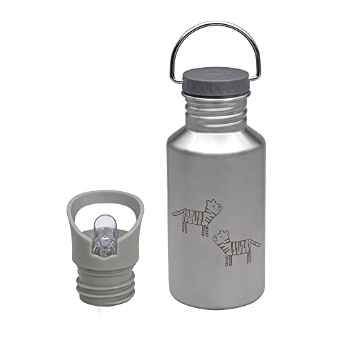 LÄSSIG Botella de acero inoxidable con Sport Cup adicional a prueba de fugas, biberón/botella de acero inoxidable Safari Tiger