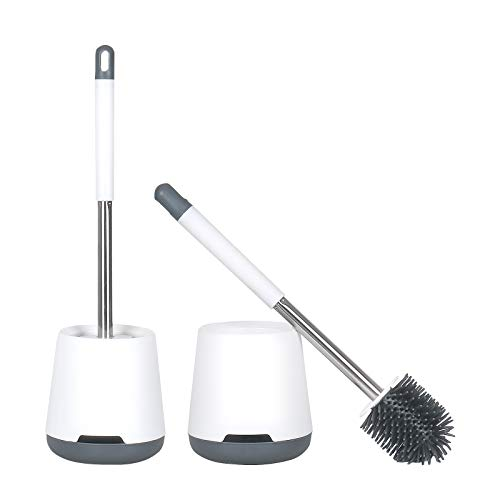 Jeasor Toilet Bowl Brush and Holder Set 2 Pack, Compact Bathroom Cleaning Brush Kit with Long Non-Slip Grip Handle, Anti-Drip and Quick Drying Holder, Wall-Mounted, White