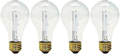 GE Lighting Crystal Clear A19 Light Bulb with Medium Base, 4-Pack