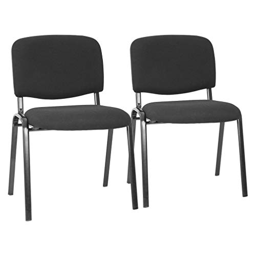 Office Guest Chairs Set of 2 Reception Chairs Conference Chairs with Lumbar Support Stack Cushion Seat Meeting Chair Fabric Office Chair Without Wheels (Black)