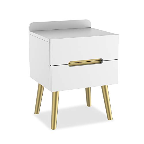 MOAMUN Wooden Bedside Table Side Table with 2 Drawers Modern Bedside Table with Drawer, Telephone Table, Sofa Table for Bedroom, Living Room Furniture Decor (White/Gold)